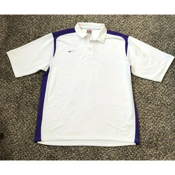 Nike Golf Shirt XL White Purple Polo Dri Fit